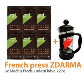 Cafedirect 6x BIO Machu Picchu mletá + French press ZDARMA